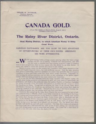 Canada Gold. The Rainy River District, Ontario. Ideal Mining District, in which American Money is Doing Great Work. MINING, Delos S. Dunbar.