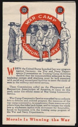 War Camp Community Service, United War Work Campaign, Morale is Winning the War. WORLD WAR I