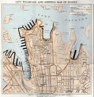 Guide to Harbour & Wharfage Arrangements, Port Jackson, Sydney, New South Wales, Australia and Maps Showing the Trade Routes from Sydney to the Rest of the World