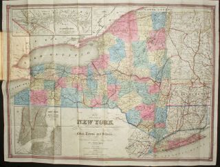 Map of the State of New York Showing the Boundaries of Counties and Townships, the Locations of Cities, Towns, and Villages, the Courses of Railroads, Canals and Stage Roads. J. Calvin Smith.