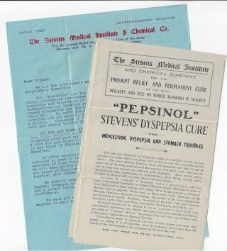 Small Archive of Ephemera Relating to the Stevens Medical Institute and Chemical Company of...