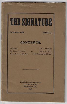 The Signature, 18 October 1915, Number 2. D. H. Lawrence, Matilda Berry, John Middleton Murry,...