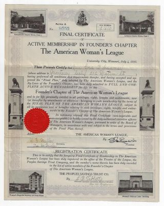 Final Certificate of Active Membership in Founder's Chapter, The American Woman's League. WOMEN,...