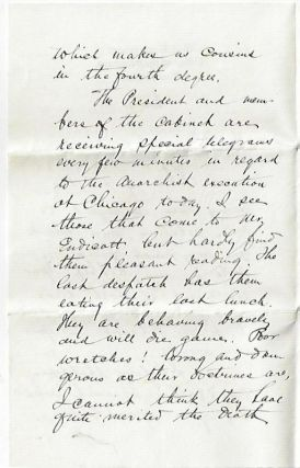 Letter Written by a War Department Clerk On the Day the Haymarket Anarchists Were Executed