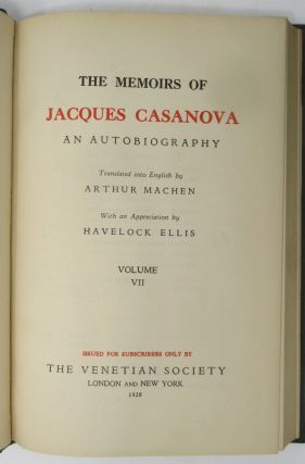 The Memoirs of Jacques Casanova, An Autobiography