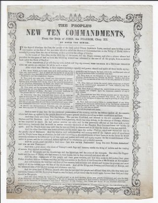 ABRAHAM LINCOLN BROADSIDE] The People's New Ten Commandments