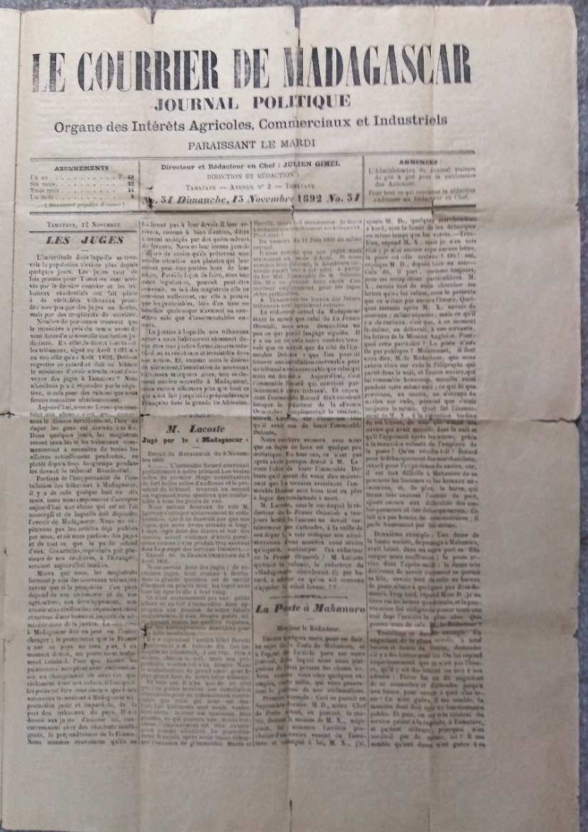 Single Issue of a Dual-Language Madagascar Newspaper dated 15 November 1892, Reporting on the Death of U.S. Vice-Consul Richard M. Whitney and Accompanied by an ALS to Whitney's Brother Giving an Account of his Death