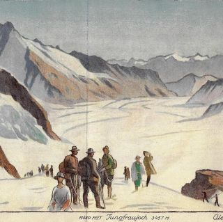 Jungfraubahn Berneroberland/Schweiz [Lithograph Swiss Travel Brochure by Noted Poster Artist]