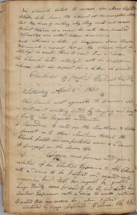Manuscript Record Book and Documents of the Fourth Baptist Church of Hector, New York, 1820-1837....