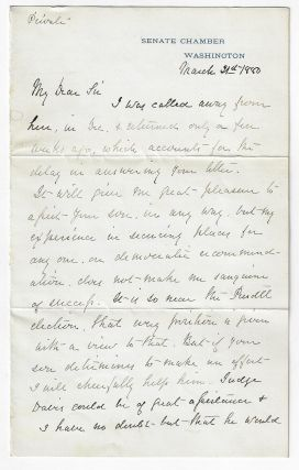 Wade Hampton Autograph Letter Signed, Discussing Democratic Party Politics Before the Election of...