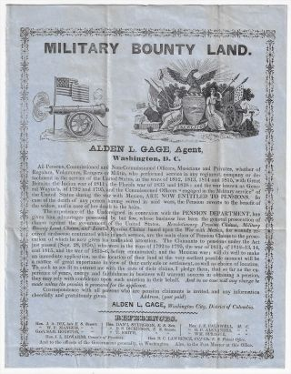 Military Bounty Land, Alden L. Gage, Agent. BOUNTY LANDS