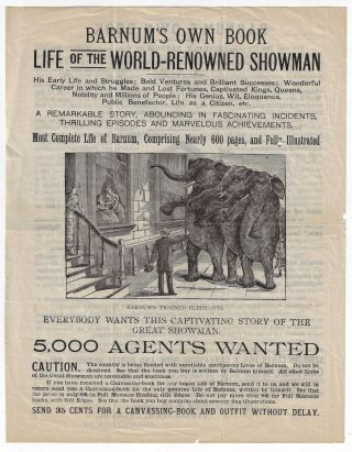 Barnum's Own Book, Life of the World-Renowned Showman. BOOK TRADE, P. T. BARNUM