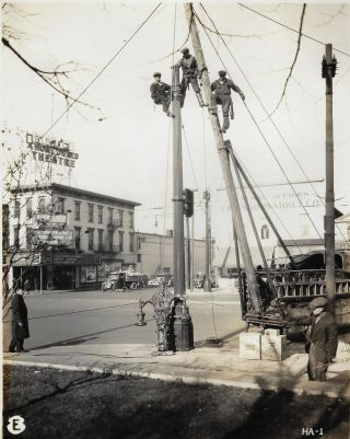 Album of Original Photographs Showing the Installation of Street Lights in Hamilton, Ohio, 1931