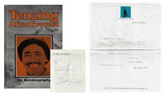 After Everest, An Autobiography [Signed, with Signed Letter Laid in]. Tenzing Norgay Sherpa, as...