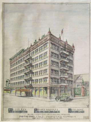 Architect's Renderings and Floor Plans for the Westlake Professional Building, Los Angeles, 1922....