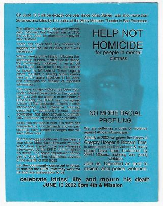Remember Idriss, Stolen June 13 2001, March & Rally, June 13 2002 6pm
