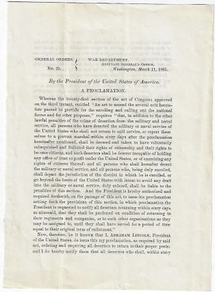 General Orders No. 35. By the President of the United States of America. A Proclamation…