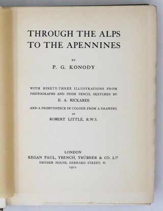 Through the Alps to the Apennines [SIGNED ASSOCIATION COPY]