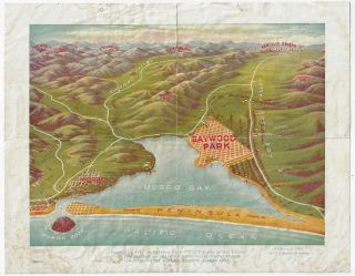 """Perspective View of Baywood Park - """"The Paradise of the Pacific"""" In the Shadow of the Mountains -- Overlooking Placid Waters -- Truly Nature's Prolific Garden Spot"""