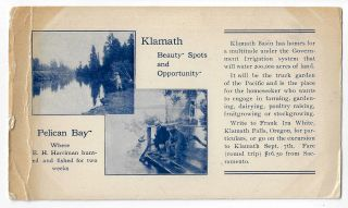 Klamath Beauty Spots and Opportunity, Pelican Bay, Where E.H. Harriman Hunted and Fished for Two...