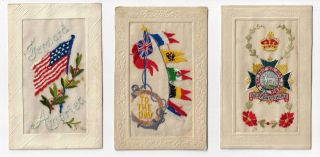 Collection of World War I Embroidered Silk Postcards, Several With Notes from Soldiers