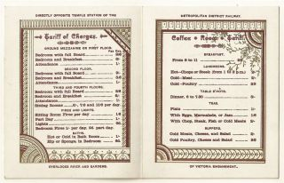 1890s Tariff Card from the Arundel Hotel, London