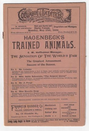 Hagenbeck's Trained Animals, The Sensation of the World's Fair