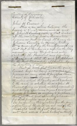 1880s Wyoming Territory Legal Brief Arguing that the Post Trader at Fort McKinney is Subject to...