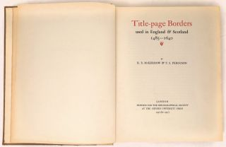Title-Page Borders used in England and Scotland 1485-1640