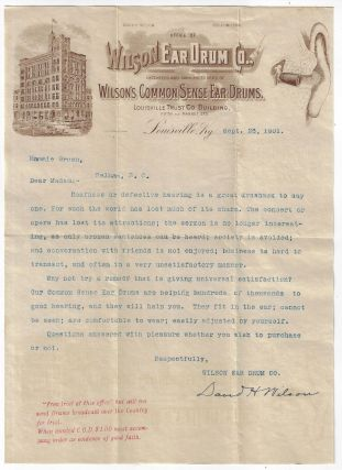 1901 Advertising Letter from the Wilson Ear Drum Co. of Louisville, Kentucky