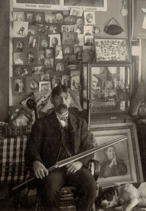 """""""The Collector"""" - Mounted Photograph of a Man Surrounded by His Many Collections"""