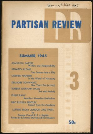 Partisan Review, Summer, 1945, Volume XII, No. 3. William Phillips, Philip Rahv, Delmore Schwartz