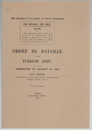 Ordre de Bataille of the Turkish Army, Corrected to August 16, 1915, Fifth Edition